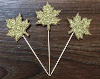 Autumn Leaf Cupcake Toppers - Sparkly Gold and Brown