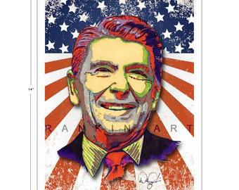 Ronald Reagan 11x14 in, 29x36 cm, Signed Art Print w/ COA