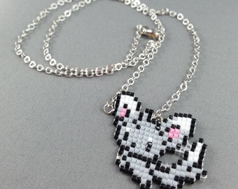 Minccino Necklace - Pixel Necklace Pokemon Necklace Pixel Jewelry 8 bit Necklace Seed Bead Neklace Video Game Necklace