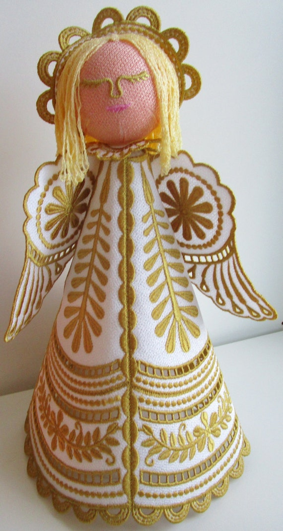 Free Standing Embroidered Angel, Gold & White Angel, Handmade Angel, Machine Embroidered Angel