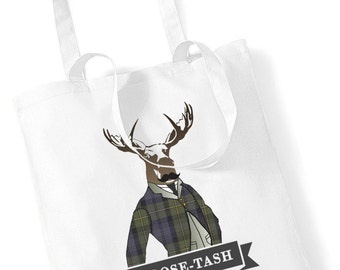 Moose-Tash Tote Shopper Bag Moustache Unique