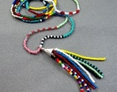Long Beaded Tassel Necklace - Colorful Glass Seed Beads - Sterling Silver Beaded Tassel