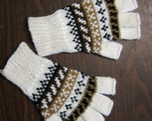 Alpaca fingerless gloves hand warmers texting gloves hand knit mittens fingerless mittens white patterned mittens fingerless gloves