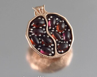 Small JUICY POMEGRANATE garnet 14k rose gold & silver pendant