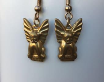 Gothic Gargoyle Lightweight Brass Dangle Earrings