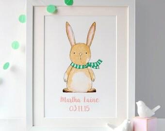 Rabbit Illustration Personalised Print - Nursery Print - New Baby Print - Nursery Gift - Personalised Baby Gift – Bunny Rabbit Illustration