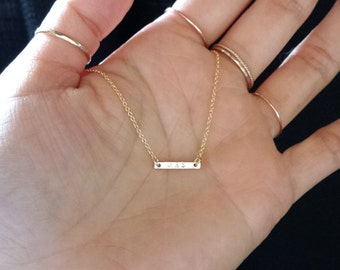 Personalized Small Bar Necklace - tiny gold bar - engraved delicate gold necklace - minimalist jewelry - Engraved Gold Dash necklace