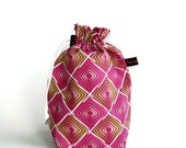 Drawstring Bag, Padded Knitting Project Bag - Poetica Heartbeats