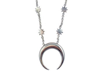 Crescent Moon Necklace    star jewelry silver sterling gold tusk jewelry