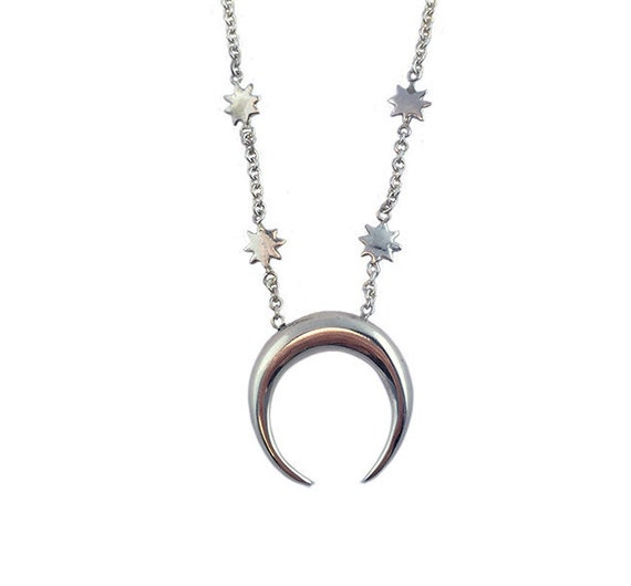 CRESCENT MOON NECKLACE star jewelry silver sterling gold tusk