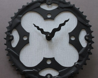 Bicycle Gear Clock - Modern Black and White | Bike Clock | Wall Clock | Recycled Bike Parts Clock