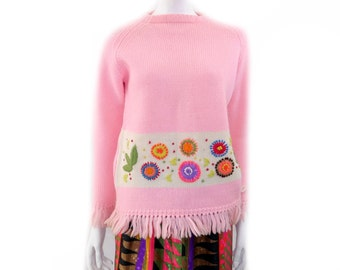 Vintage 1960s Pink Wool Womans Sweater// Made in British Crown Colony of Hong Kong // Century Retro Fashion Clothing