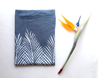 Navy Blue Palm Tree Leaf Tea Towel - Boho Beach Decor - Beach Decor - Coastal Living - Palm Tree Print - Beach Dish Towel - Blue and white