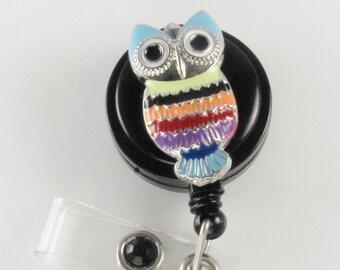 Rainbow Owl Badge Reel OWL Love You Forever id badge lanyard