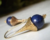Genuine Lapis Gemstone Earrings on Brass, Natural Stone Jewelry, Round Navy Blue Dangle, Dark Blue Earrings