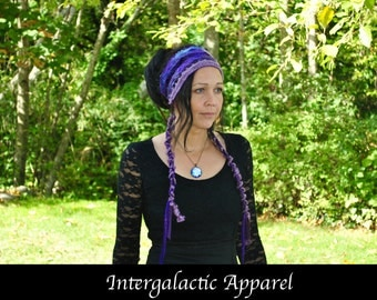 Headband Dreadband, AMETHYST CLUSTER  Interstellar Weave Headband, Hippie Hair Wrap for Dreadlocks An Original Intergalactic Apparel Design