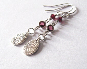 Rhodolite Garnet Fine Silver Dangle Earrings, Swirl Pattern Gemstone Earrings