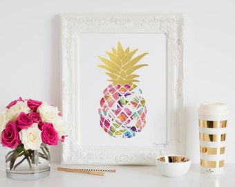Pineapple Art Print, Pineapple Canvas Sign, Kitchen Decor Wall Art, Office Decor Baby Girl Nursery, Baby Shower Gift Mother's Day