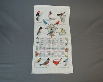 Vintage Novelty Birds Dish Towel or Wall hanging, 1969 Linen Calendar with Birds & Names