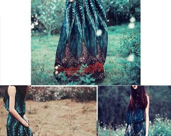 Nirvana - Boho Maxi Dress / Hippie Wedding Dress / Peacock Dress/ digital print art chiffon maxi skirt (Q1728)