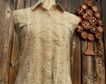 western fitted button down shirt /floral sleeveless tie back blouse folk punk cowgirl size medium M