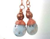 Aqua Gemstone Earrings. Blue Green Teardrops. Copper Wire Wrapped Kiwi Sesame Jasper Stones. Rustic African Trade Beads.
