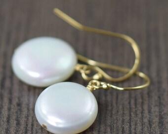 Pearl earrings White coin pearl earrings freshwater pearl earrings gold filled earrings June Birthstone earrings