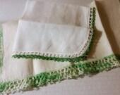Vintage Hankies, green tatted crochet lace, 2 handkerchiefs