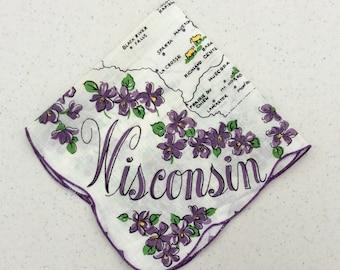 Vintage Souvenir Hankie Wonderful Wisconsin Amid Violets