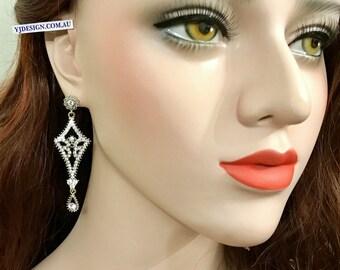 Chandelier Bridal Earrings, Geometric Wedding Earrings, Art Deco Earrings, Gatsby Wedding Jewelry, Swarovski Crystal Bridal Jewelry, ALIA