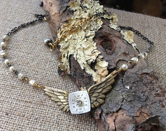 Steampunk Winged Necklace, Time Traveler Jewelry, Rosary Steampunk Necklace,