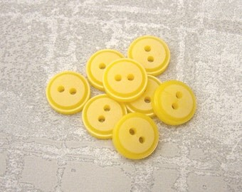 Small Yellow Buttons, 13mm 1/2 inch - Bright Happy Primrose Yellow Plastic Buttons - 8 VTG NOS Custard Yellow Vintage Sewing Buttons PL494