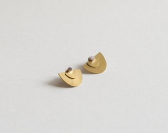Suma Ear Jacket Studs - Brass and Sterling Silver 3 in 1 Studs, Small Stone Earrings