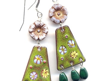 Malachite Enamel Earrings, Unique Earrings, Flower Sterling silver Earrings, Lavender Green Earring, Long Boho Earrings, Handmade by AnnaArt