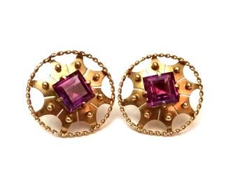 14k & Tourmaline Earrings, Mughal Pink Purple Tourmaline Gold Earrings, 1950s Etruscan Revival, 14k Gold Earrings, Vintage Gemstone Jewelry
