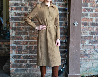 1970's Belted Sweater Shirt Dress Pointy Collar Belted, Dalton James Kenrob