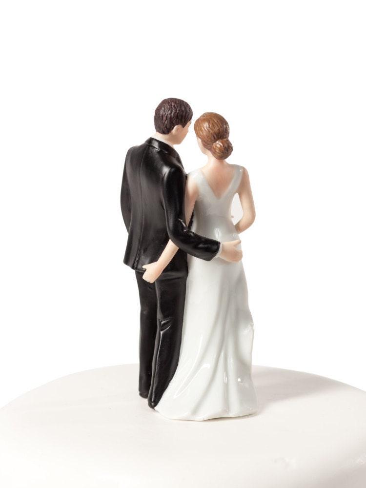 Bride And Groom Wedding Cake Topper Custom Painted Hair Color