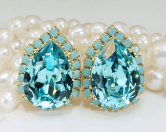 Turquoise Clip on Earrings Aqua Blue Bridal Swarovski Teardrop Estate Gold Bridesmaids Turquoise Halo Earring,Gold,Light Turquoise,GE124