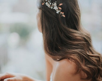 Rose Gold Hair Comb | Gold Leaf Hair Comb | Bridal Hair Vine | Wedding Hair Piece | Flower Vine Comb | Pearl Hair Vine [Phoebe Comb Set]