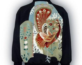 Full Zip Bomber Style Blouson Jacket/ Large Size L~XL/ Japanese Vintage Kimono Recycled/ Peacock