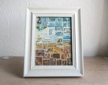 Framed Postage Stamp Wall Art, Recycled Collage Landscape, Upcycled Philately Snail Mail Art Gift, Eclectic Office Boho Bohemian Travel Gift