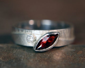 "Recycled sterling silver ""Walk On The Hills"" marquise garnet and moissanite ring. Hand made. Size UK N 1/2"