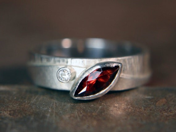 """Recycled sterling silver """"Walk On The Hills"""" marquise garnet and moissanite ring. Hand made. Size UK N 1/2"""