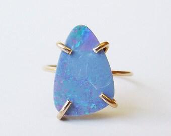 SALE Blue Fire Opal Gold Ring