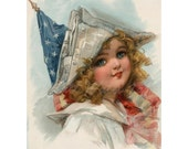 Patriotic Girl Clipart Digital Download Vintage 4th of July American Flag Stars and Stripes Red White And Blue diy printables