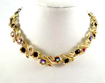 Vintage Red Aurora Borealis Rhinestone Necklace