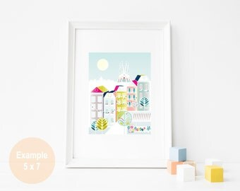 Barcelona Skyline Travel Art Print, Spanish Spain Paper Print, Poster, Barcelona Illustration, Home, Office, Nursery, Gift for Women