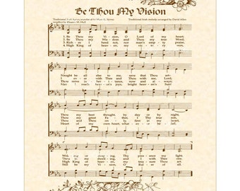 BE THOU My VISION - Vintage Verses Christian Heritage Sheet Music Wall Art Inspirational Wall Art Celtic Irish Folk Tune Wall Art Sale