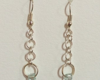 Chainmaille Silver-tone Drop Earrings with a Light Blue Beaded Ring Detail