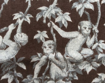 "70s Spring Industries//""The Elephant Social""//Sweet Little Frolicking Monkies in Silver/Charcoal Leaves/Choco Ground//All Cotton Novelty BTY"